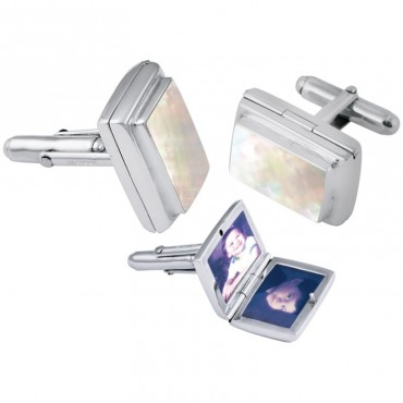 CU467 Ari D Norman Sterling Silver Mother of Pearl Locket Cufflinks