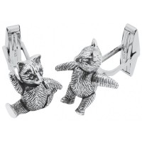 CU469 Ari D Norman Sterling Silver Movable Teddy Cufflinks