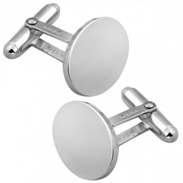 CU412 Ari D Norman Sterling Silver Plain Oval Cufflinks
