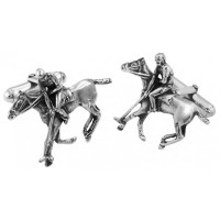 CU541 Ari D Norman Sterling Silver Polo Player Cufflinks
