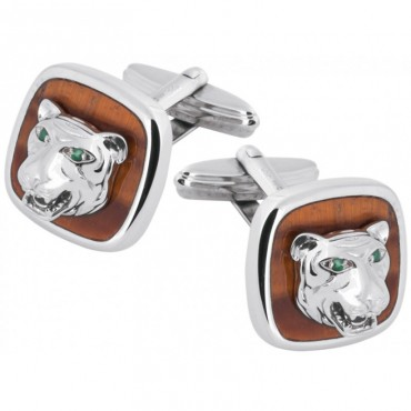 CU585 Ari D Norman Sterling Silver Tiger Cufflinks
