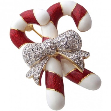 JB9   Gold Plated Christmas Candy Canes Brooch Jewelari of London